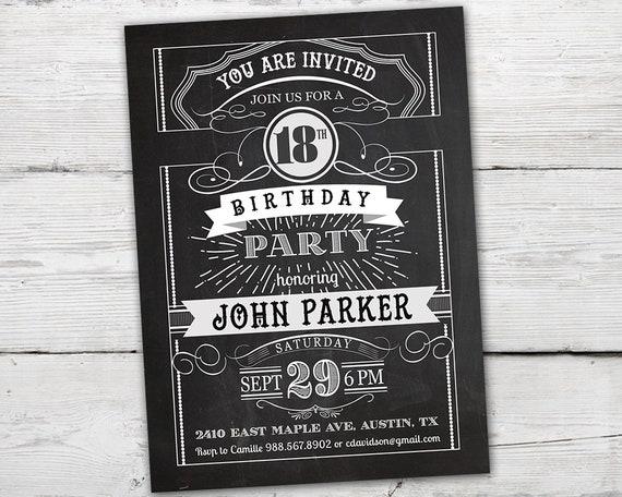 18th Birthday Invitations Boy Invitation Vintage For Him PRINTABLE