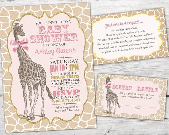 Pink Giraffe Baby Shower Decorations  from i.etsystatic.com