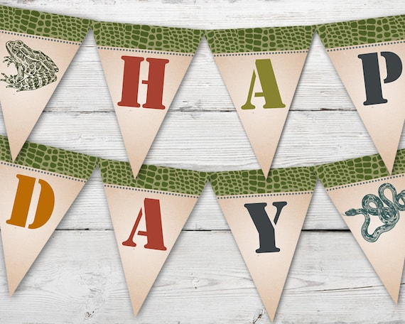 Reptile Happy Birthday Banner Party PRINTABLE