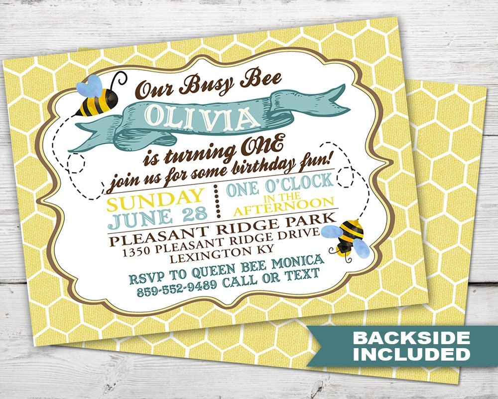Busy Bee First Birthday Invitation Bee Birthday Invitation | Etsy