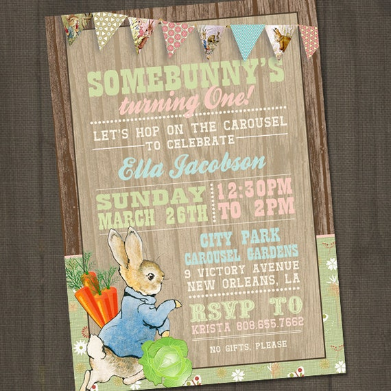 Peter Rabbit Invitation Peter Rabbit Birthday Invitation Etsy