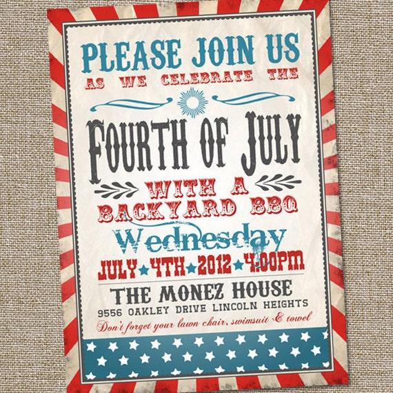 Fourth Of July Invitation Vintage Fourth Of July Invitation Etsy