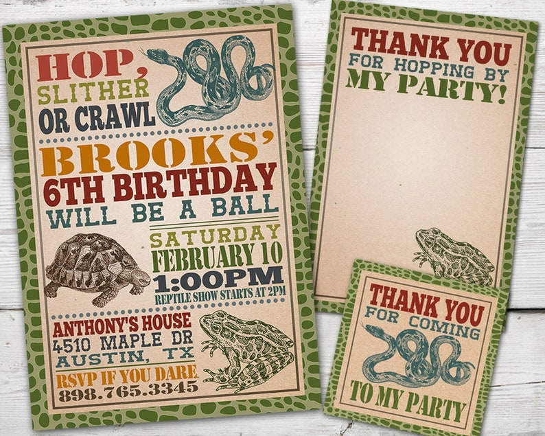 Reptile Birthday Invitation Party