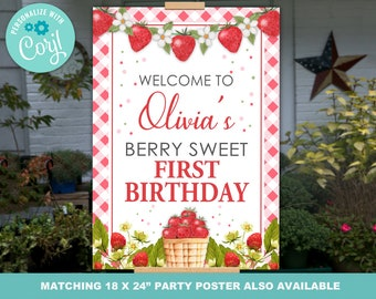 Strawberry Party Decor, Strawberry First Birthday Poster PRINTABLE, Strawberry Party Banner, Strawberry Poster Instantly Editable with Corjl