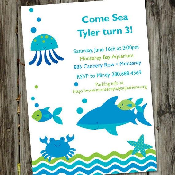 Invitación del cumpleaños de los pescados pescar invitación   Etsy