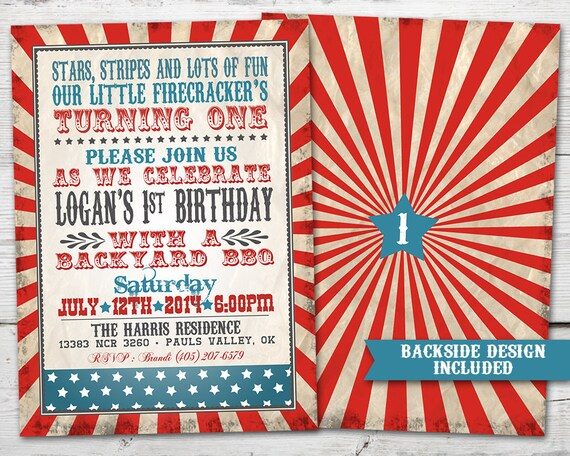 Our Little Firecracker Invitation Birthday Fourth Of July First Invitations 4th