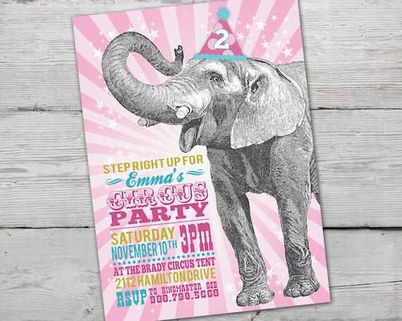 Pink Circus Invitation Girl Birthday