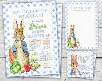 Peter Rabbit First Birthday Invitation, Peter Rabbit Thank You Card, Peter Rabbit Birthday PRINTABLE, Easter First Birthday Invitation
