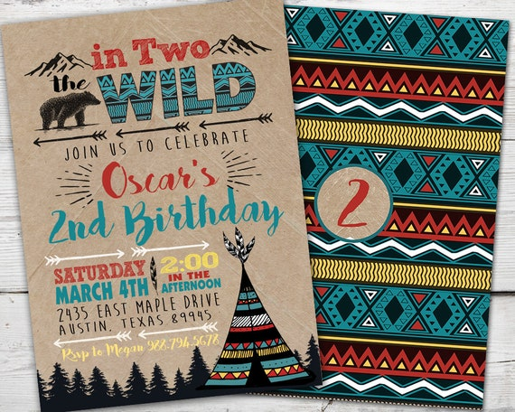 In Two The Wild Birthday 2nd Invitation TWO WILD Boy Into TeePee