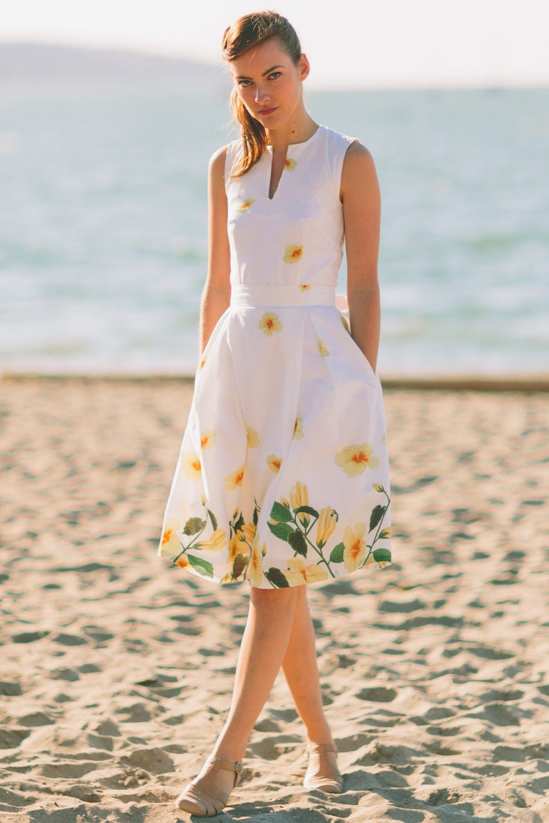 Vintage Style Dresses | Vintage Inspired Dresses Lana dress inspired by the Grace Kelly Era in yellow floral border print $89.00 AT vintagedancer.com