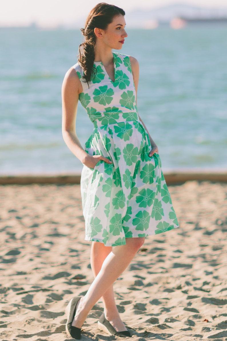 1950s Dresses, 50s Dresses | 1950s Style Dresses Lana dress inspired by classic vintage in green floral $89.00 AT vintagedancer.com