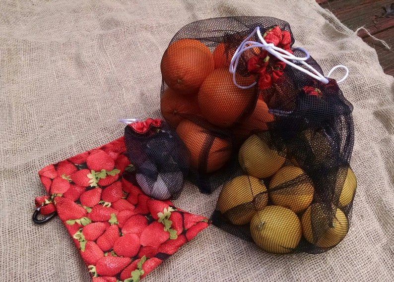 Set of Three Black Mesh Produce Bags with Matching Strawberry image 0