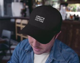 Create Consent Culture Hat | Feminist Sex-Positive Embroidered Cap in Black