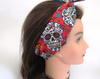 Multi colored and Blue and White Polka dots Reversible tie up Headband/ Tie up Scarf/ Tie Up hair