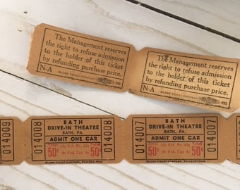 Vintage Bath, PA Drive-in Theatre Movie Tickets 50cents