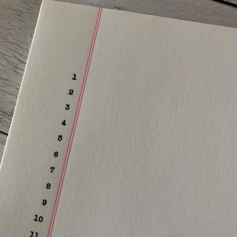 Vintage Legal Size Gilbert Bond Numbered Red Margin Typing Paper Watermarked Set of 10 sheets
