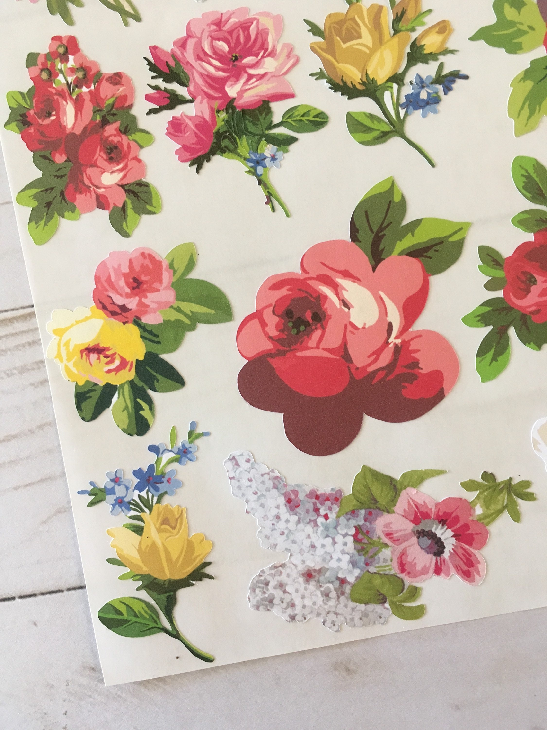 Vintage Styled Roses And Flowers Garden Sticker Sheet
