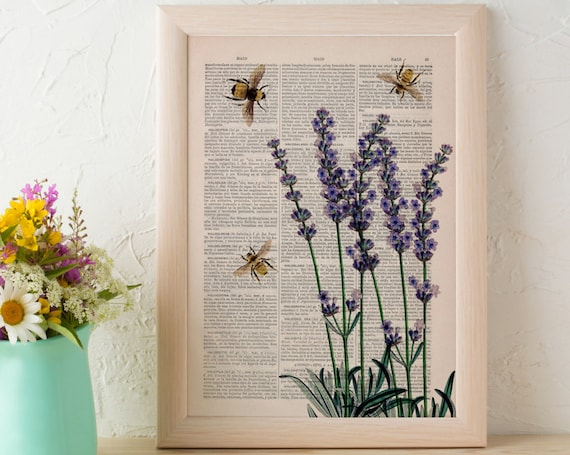 Wall art home decor Bees with Lavender flowers Dictionary art poster print Wall decor bees insect art gift BFL117