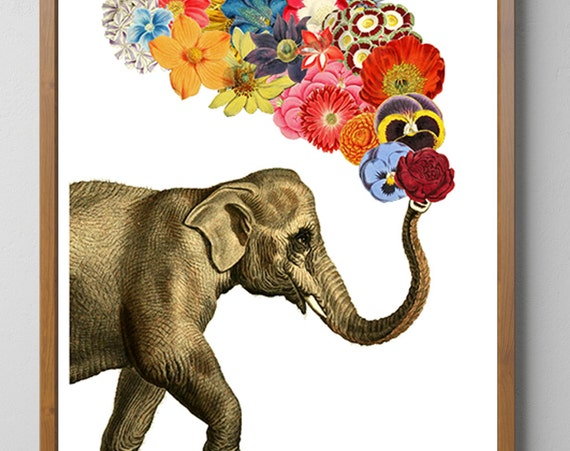 Elephant flower white art, Elephant art, Nursery art, Wall decor, Wall art, Animal art, Animal decor, ANI091WA3