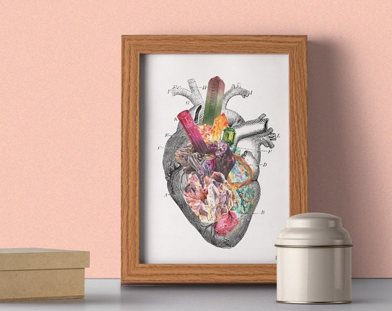 Minerals and stones Heart Print, Stones and minerals, Anatomical art, Anatomy art, Wall art, Wall decor, Science art, Wholesale,  SKA116WA4