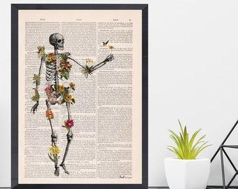 Wall art print Human Tropical Plants Skeleton full of naure Doctor student gift Anatomy Print Anatomical decoration science Biology SKA279