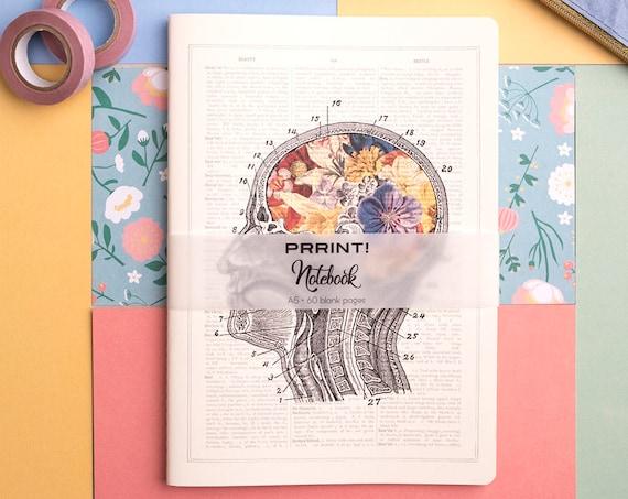 Christmas gifts Blank Notebook, A5 journal, Flowery Brain Notebook,  notebook, anatomy art, anatomy, brain art, science, medical NBSKA053