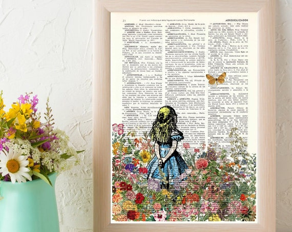 Alice looking at the Orange butterfly.  Alice in Wonderland wall art, Wall decor Alice print, nursery art ALW046
