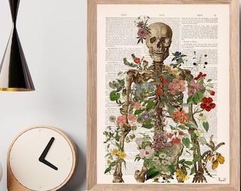 Doctor gift Anatomy Wall Art - Flower Skeleton - Human Skeleton Art - Anatomy Illustration - Anatomical Decor - Anatomy Print - SKA149