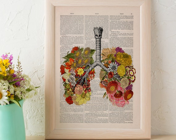 Flowery Human Lungs anatomic science wall art print best choice for gifts gifts SKA062b