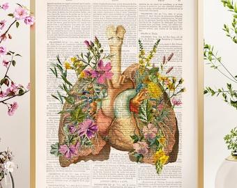 Christmas Svg, Anatomical Flower Heart - Flower Lung -Sustainable art- Human Anatomy Poster - Medical Art - Anatomy Poster - SKA099