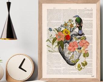 Gift Idea, Blue Bird on Anatomical Heart - Flower Heart Print - Flower Anatomy Print- Anatomy Decor - Sustainable art- Art heart SKA259