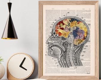 Christmas Gift, Flowery Brain Anatomy Art - Botanical Anatomy Print - Medical Art - Anatomical Brain Art - Anatomy Wall Art -  SKA053