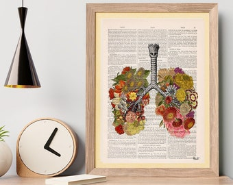 Wall art print Flowery Lungs Print - Anatomical Lungs - Human Anatomy Art - Anatomy Art Print -Sustainable art- Anatomy Poster - SKA062
