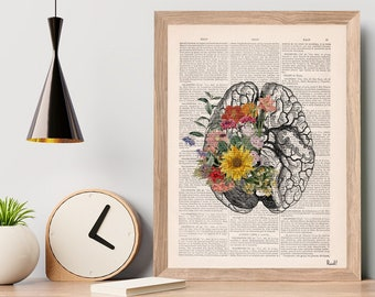 Christmas Gifts, Nature Anatomy - Brain Flower - Anatomy Illustration - Medical Art Print -Anatomy Print - Anatomical Poster - SKA140