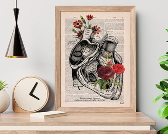 Wall art print Flower Heart Print - Nature Anatomy - Anatomy Illustration - Anatomy Print - Love Wall Art - Anatomical Heart - SKA080