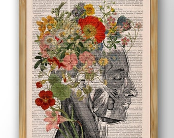 Wall art print Woman gift Flowery Hair collage Printed on Dictionary Book page. Anatomy decor, Flower and butterflies print, SKA161