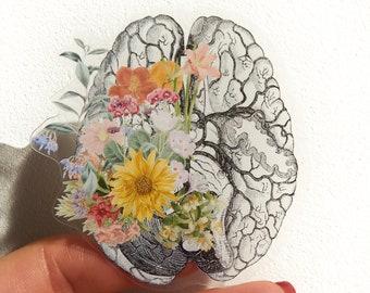 Back to school SVG - Brain Human brain with flowers, laptop stickers, stickers, decal sticker, anatomy stickers, brain, STC044