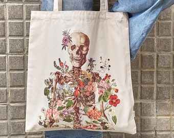 Tote bag with print, Tote Bag organic cotton , Flower Skeleton tote bag with pocket, shoulder bag, Doctor gift, Medical student gift, TBC005