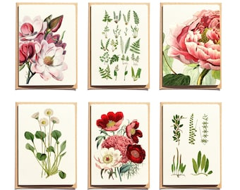 Christmas  Botanical Thank You Cards - Set of 6 - Floral Greeting Cards - Blank Note Cards - Stationery Cards - Folded Note Cards NTC001WA6