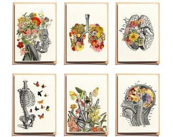 Anatomical Greeting Cards Set - Flower Anatomy - Botanical Anatomy - Flower Brain - Brain Anatomy Art - Medical Greeting Card - NTC06WA6