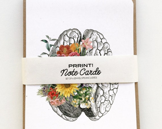 Anatomical Greeting cards set. Anatomy and flowers. Notecards set of six designs, Blank note cards set. Anatomy Greeting cards set. NTC06WA6
