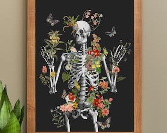 Wild Skeleton, Anatomy art with flowers, Wall decor, Art in black, Skeleton Poster art, Anatomica wall art, Science student gift,  SKA287CA3