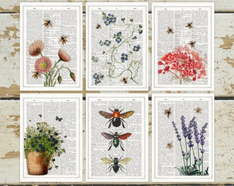 Mediterranean Bees Set of Postcards - Set of 6 - Floral Greeting Cards - Postcards - Botanical Stationery  Save the bees Cards - PSC016