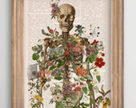 Skeleton covered with flowers, Anatomical art, Anatomy art, Wall decor, Wll art, medical student gift, Science, Poster art,  SKA146PA3