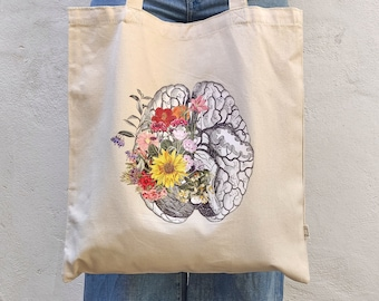 Christmas svg, gift, Tote Bag organic cotton - Spring Brain bag with pocket - shopping bag - shoulder bag - Medical student gift - TBC001