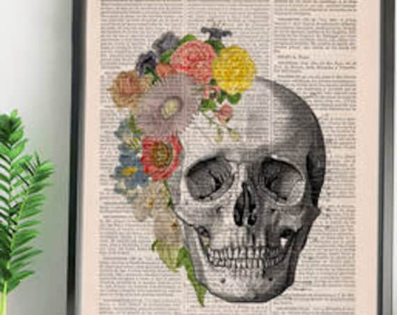 Springtime Skull Decorative Art, Flowers on Skull ,Nature Inspired Print, Decorative Art, SKA138
