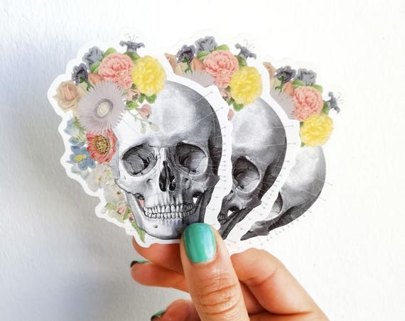Human Anatomy skull with flowers stickers STC005