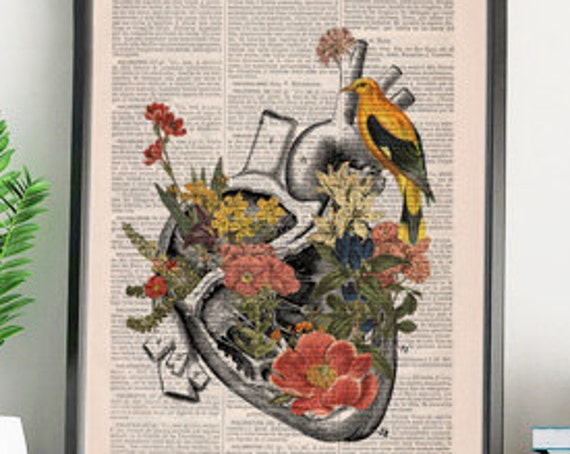 Flowery Heart with yellow bird science & anatomy art perfect for Christmas gifts SKA110b
