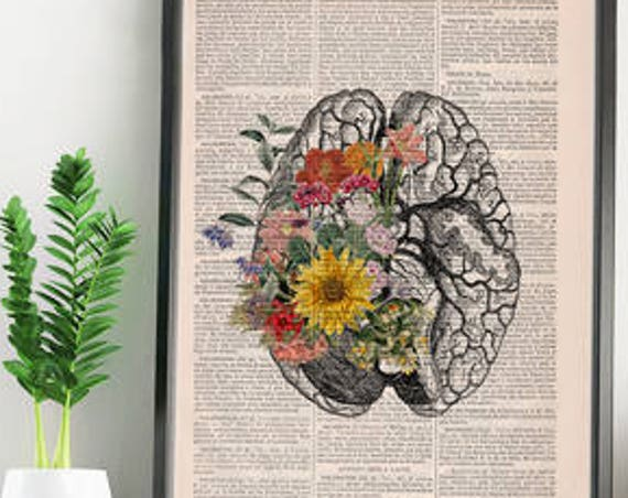 Christmas gifts for her Springtime Mind Flowers on Brain,Nature Inspired Print, Decorative Art, Wall hanging print, Brain Art flowers SKA140