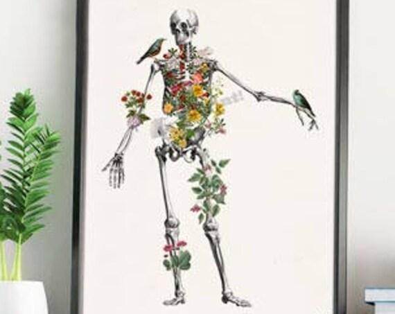 Human Skeleton full of naure. Anatomy art, Anatomical art, Wall art, Wall decor, Anatomy, Medical gift, Wholesale, Gift for doctor SKA142WA4